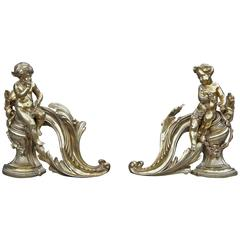 Antique Pair of French Gilt Bronze Fireplace Chenet, Andirons