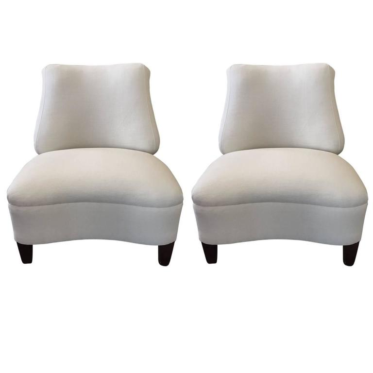 Pair of 1950s Upholstered Lounge Chairs