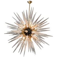 Stunning Clear Murano Glass Spike Sputnik Chandelier