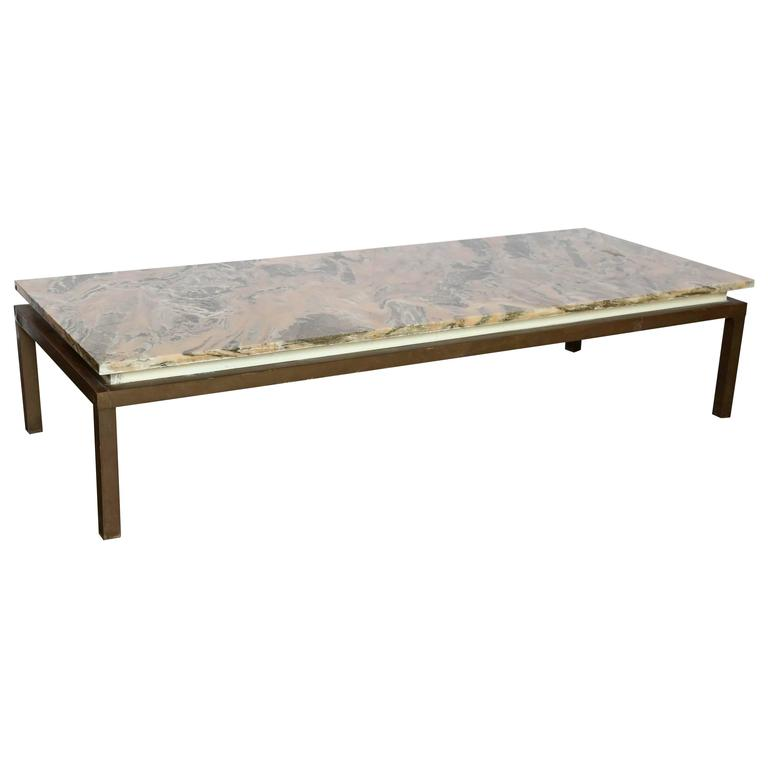 Mid Century Modern Marble Swirl Top With Bronze Base Tail Coffee Table For
