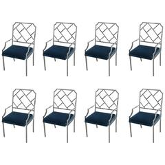 Milo Baughman for DIA Chrome Chippendale, Set of Eight Dining Chairs