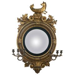 Large Important Regency Carved Giltwood Girandole Convex Mirror