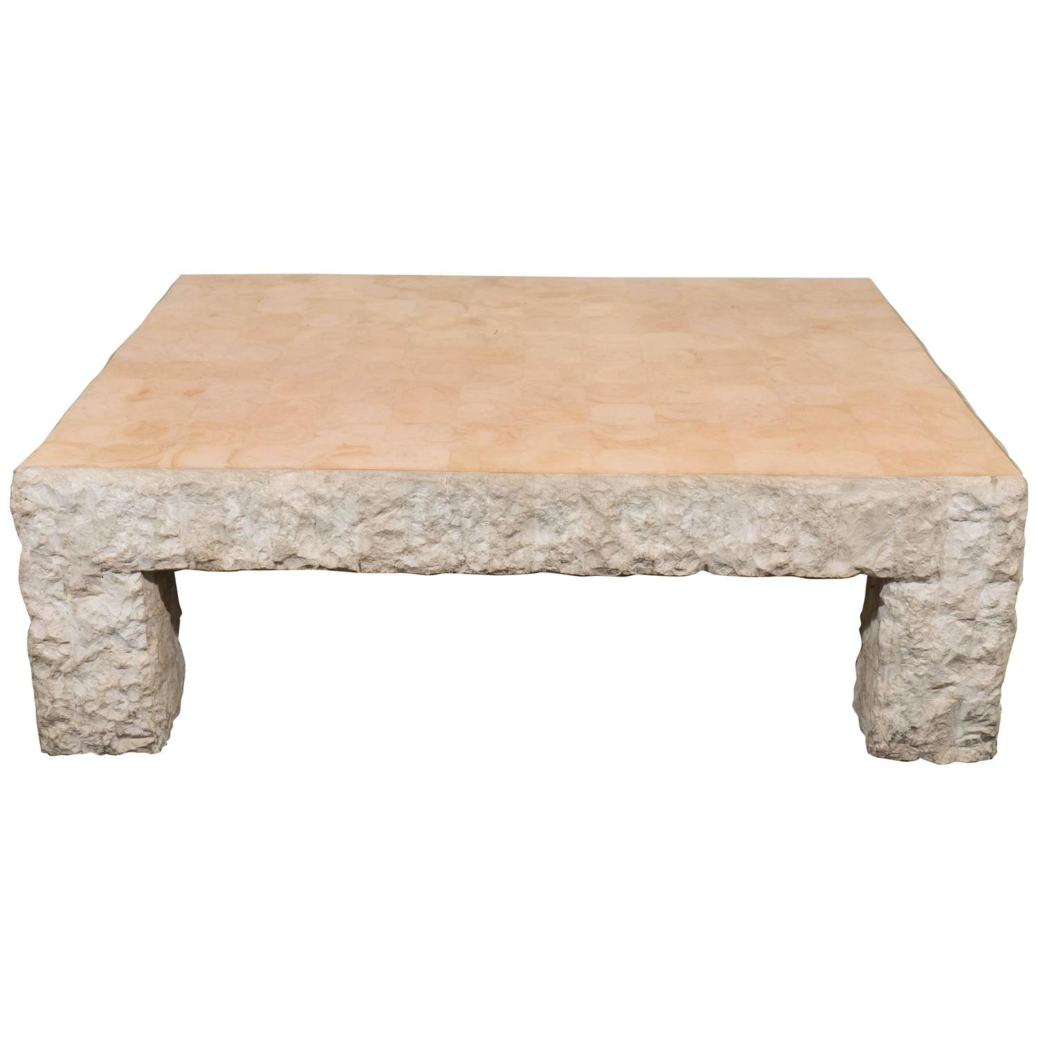 Maitland smith rough edge travertine coffee table at 1stdibs geotapseo Image collections