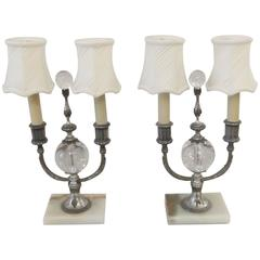 Pair of Silvered Bronze Buffet Lamps