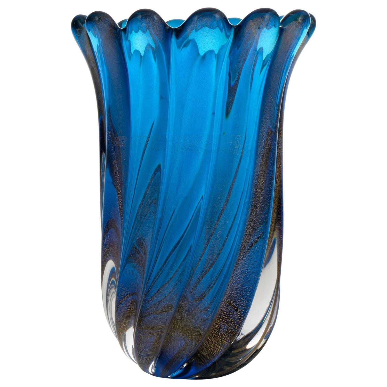 Cenedese cobalt blue italian glass vase for sale at 1stdibs murano cobalt blue polvera doro glass vase reviewsmspy