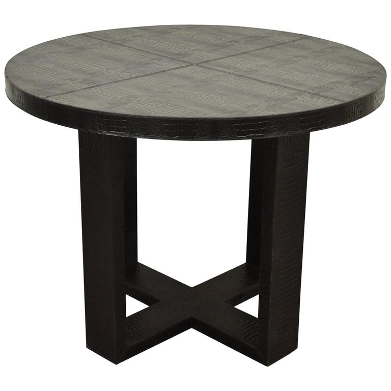 Custom Serge Se Troyer Alligator Embossed Italian Leather Round Center  Table For Sale