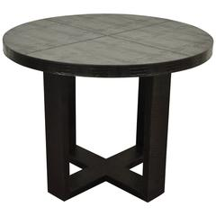 Custom Serge se Troyer Alligator Embossed Italian Leather Round Center Table
