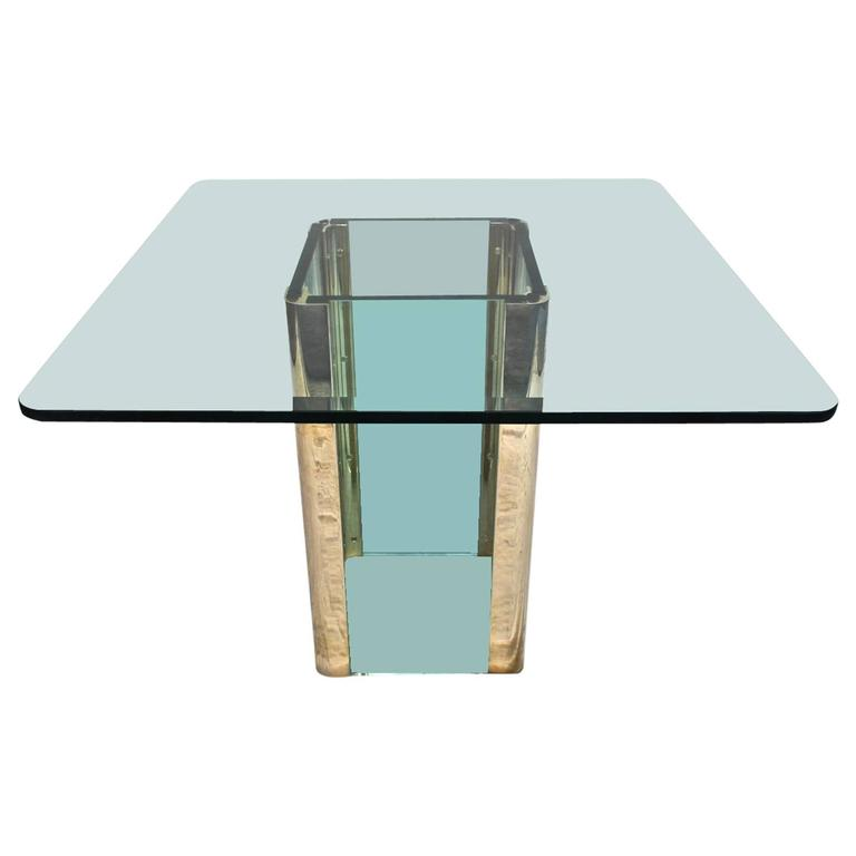 Beautiful Glass and Brass Dining Table by Pace