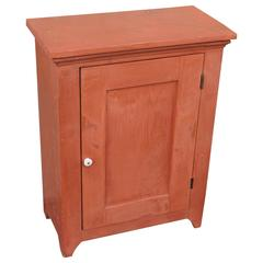 19th Century Diminutive Original Salmon Painted Wall Cupboard