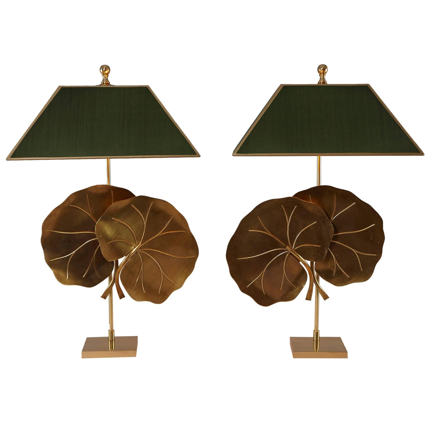 Pair Of Midcentury Brass Table Lamps With Lotus Leaves At 1stdibs