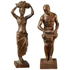 """Ivory Coast Figures"", Important Art Deco Sculptures for Eugène Printz Interior"