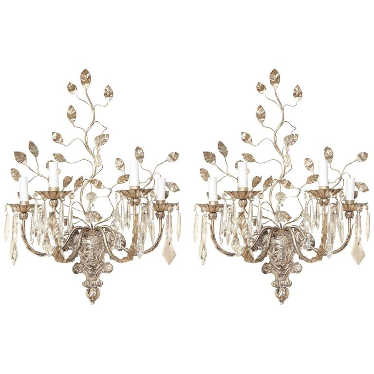 A Pair of Four-Light Silver Metal Wall Sconces  For Sale