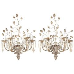 A Pair of Four-Light Silver Metal Wall Sconces
