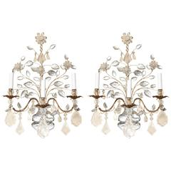 Pair of Three-Light French Bagues Louis XVI Style Wall Sconces