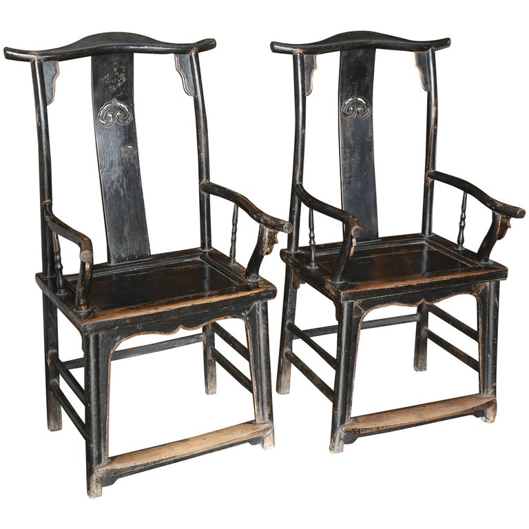Pair of Yoke Back Elm Armchairs For Sale
