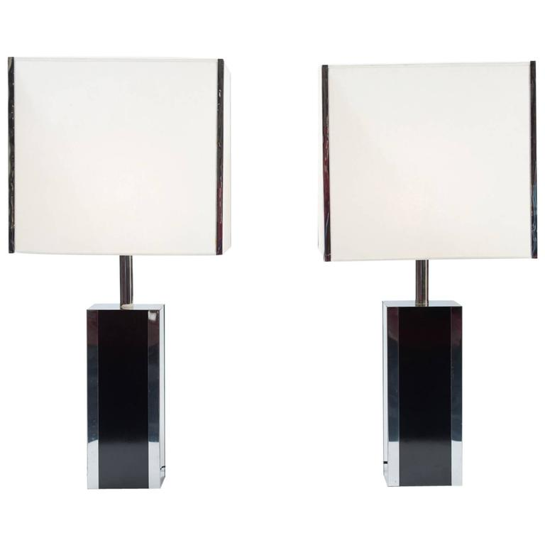 Pair of French Large 1970s Table Lamps