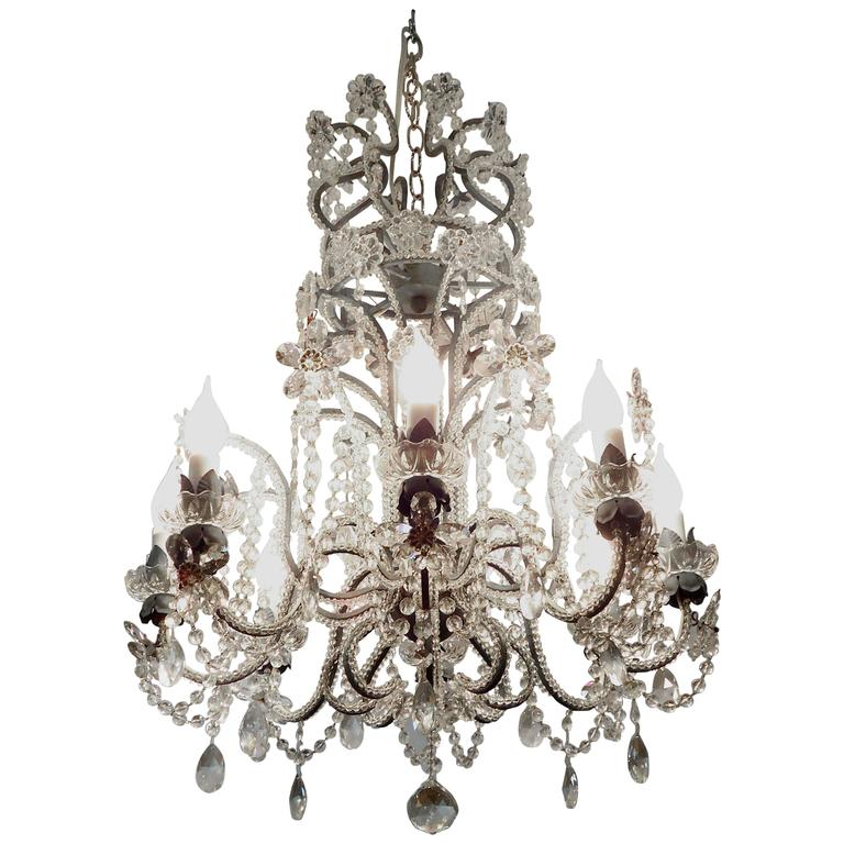 Gorgeous Italian Crystal Chandelier For Sale at 1stdibs
