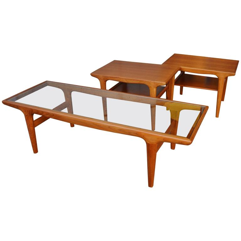 Teak Coffee Table And End Tables: Rare Johannes Andersen Teak Three-Piece Coffee And End