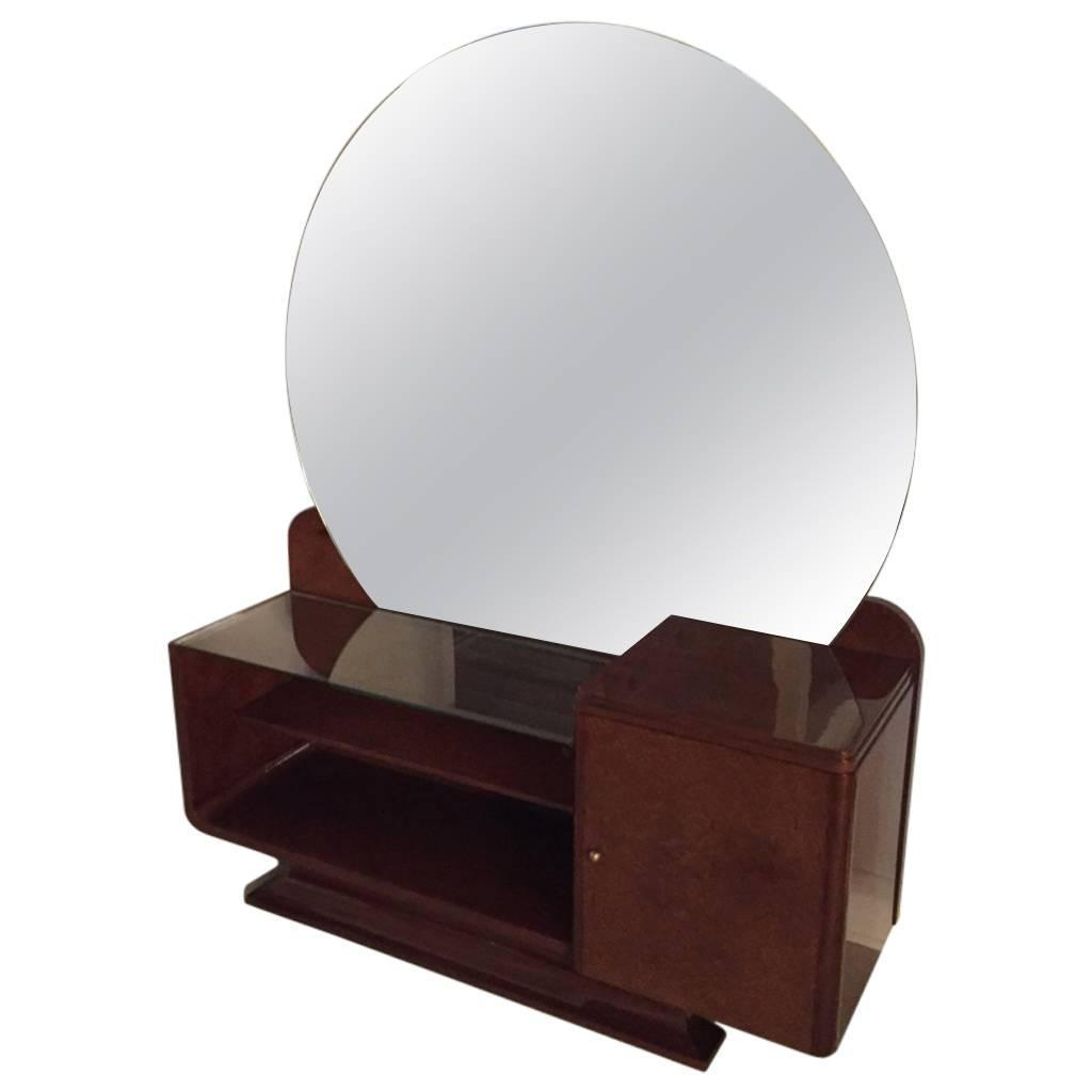 art deco vanity with large round mirror for sale at 1stdibs