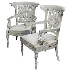 Pair of Austrian Empire late 18th Century Painted Arm Chairs