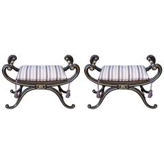 Pair of English Regency Curule Benches