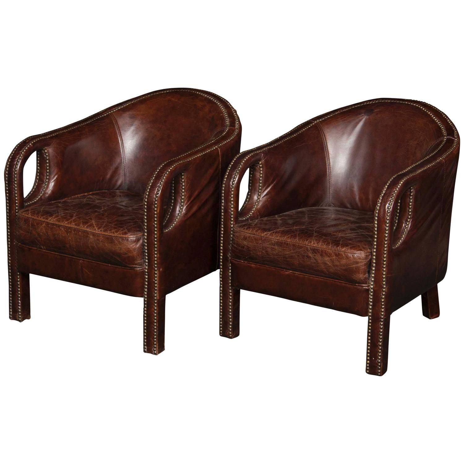 mid 20th century french leather club chairs at 1stdibs