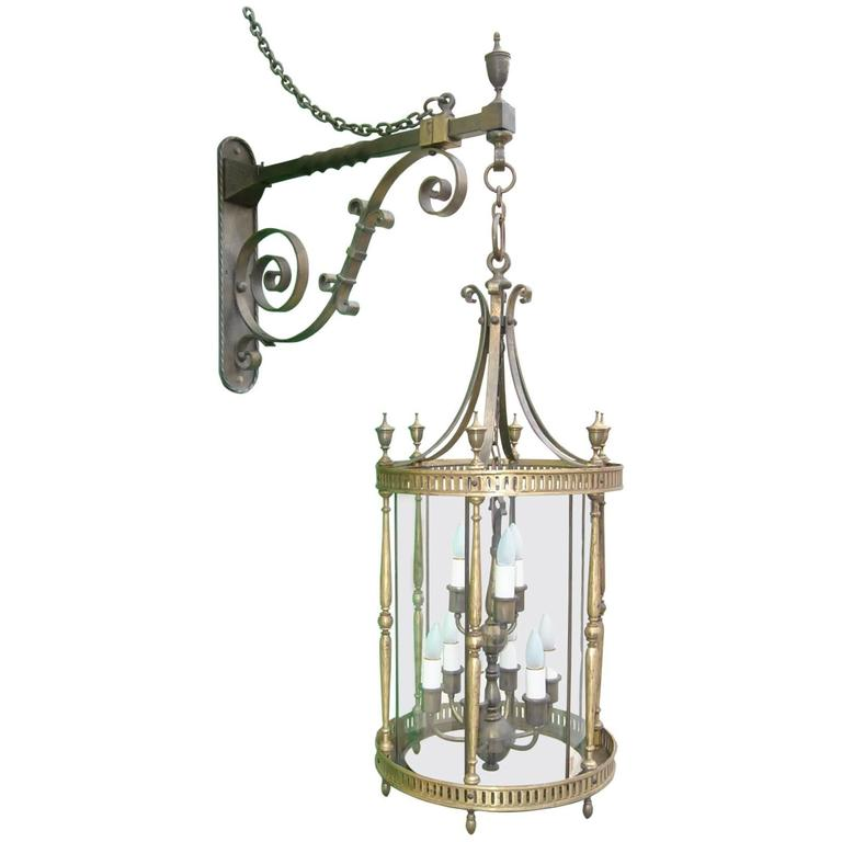 Early 20th Century Bronze NIne-Light Cylindrical Lantern with Wall Bracket