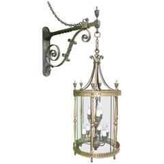 Early 20th Century Bronze NIne-Light Cylindrical Lantern with Wall Bracket
