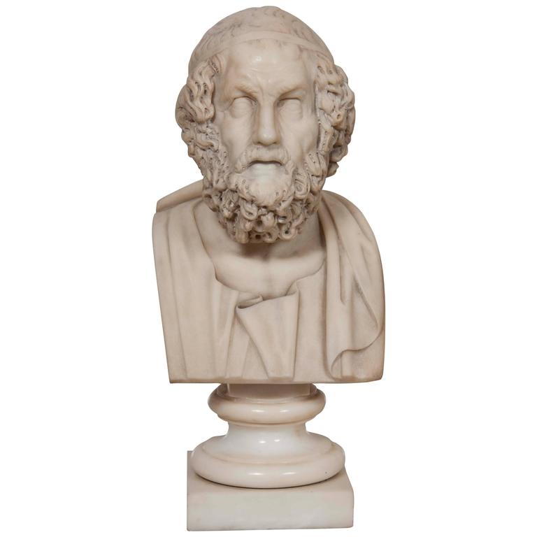 Solid Marble Bust of Homer For Sale
