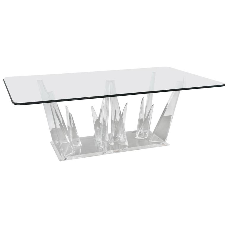 American Modern Lucite and Glass Dining or Center Table, Style of Karl Springer