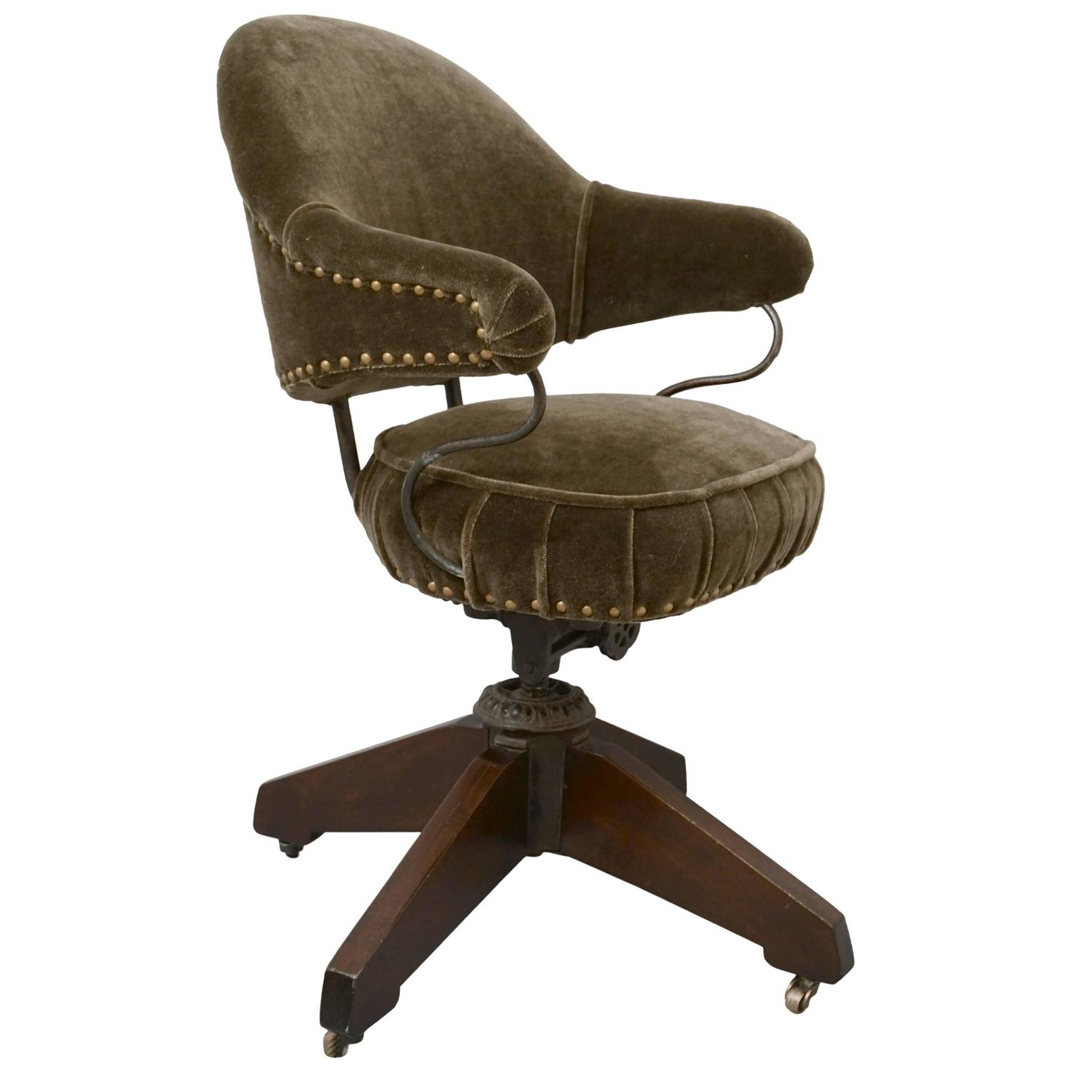 Early 20th Century Office Chair In Mohair At 1stdibs