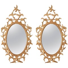 Pair of Small Chippendale Oval Mirrors in the manner of Thomas Chippendale