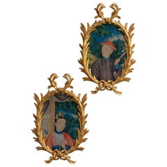 Chinoiserie Palm Oval Paintings