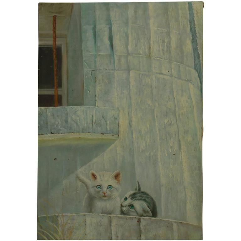 "Vintage Oil Painting ""Kittens on the Balcony"""