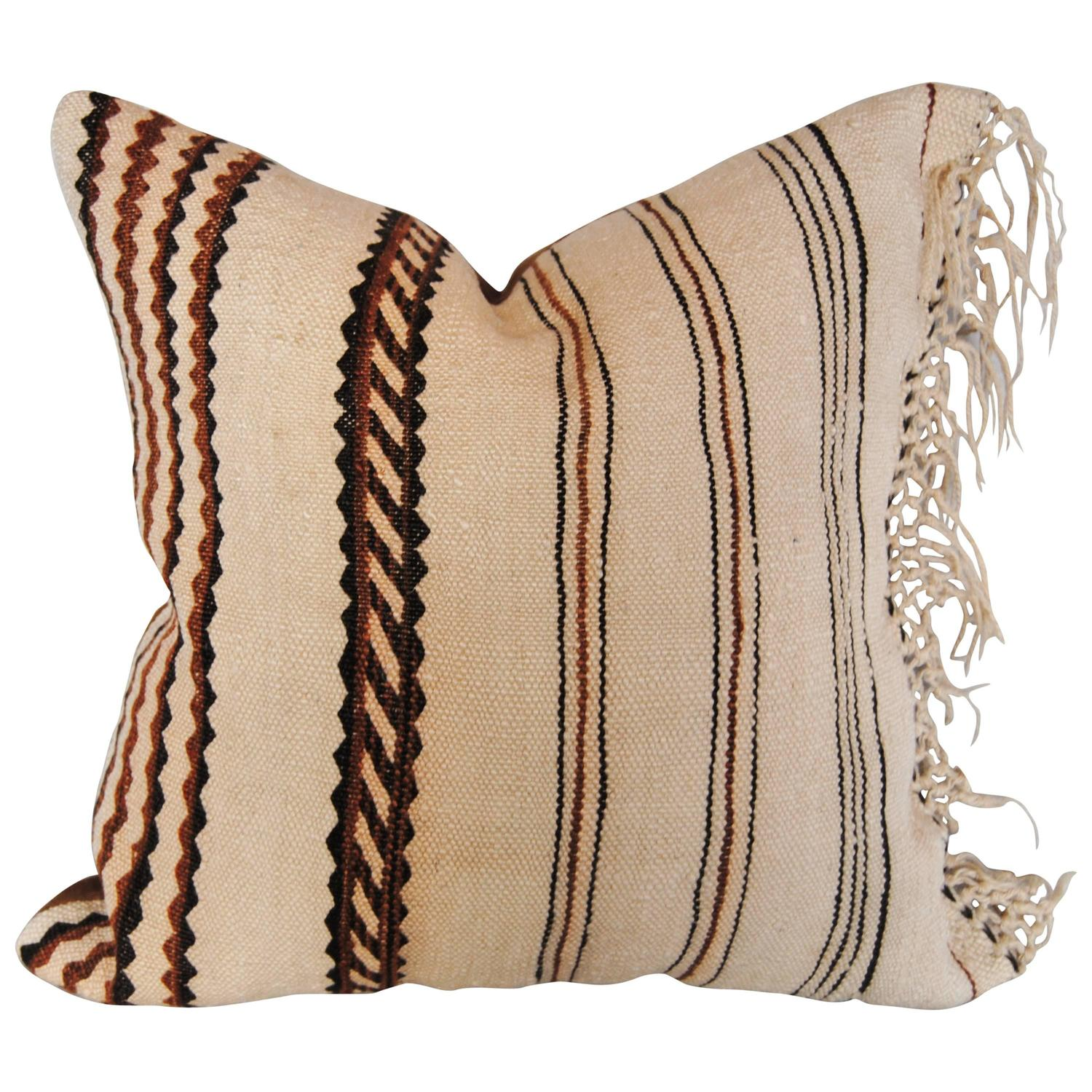 Custom Pillow Cut From A Vintage Moroccan Berber Rug From