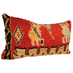 Custom Pillow from a Hand-Loomed Wool Vintage Moroccan Rug, Atlas Mountains