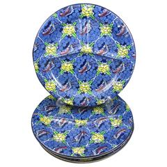 Staffordshire Ironstone Chintz Divided Chop Grill Plates, Set of Four