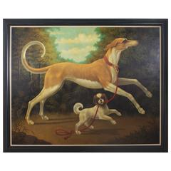 Oil on Canvas Painting of Romping Dogs by William Skilling