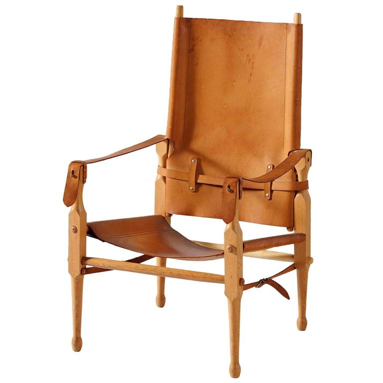 Safari Lounge Chair in Cognac Leather and Solid Beech