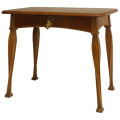 French Art Nouveau Walnut Desk with Brass Duck Handle by Louis Majorelle