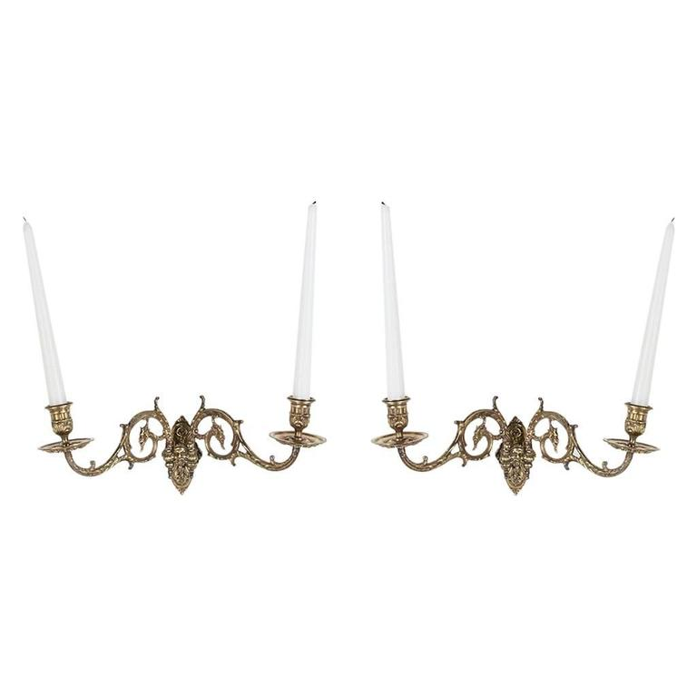 Pair 19th Century French Bronze Piano Sconces Wall Sconces