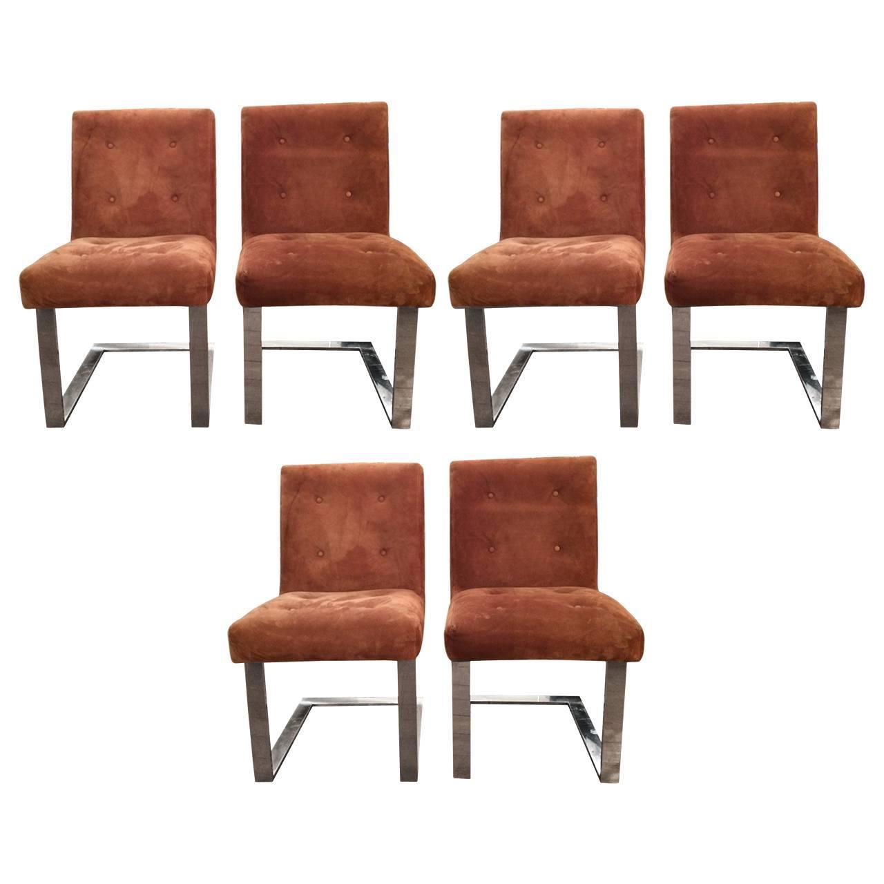 set of six suede and chrome midcentury modern paul evans