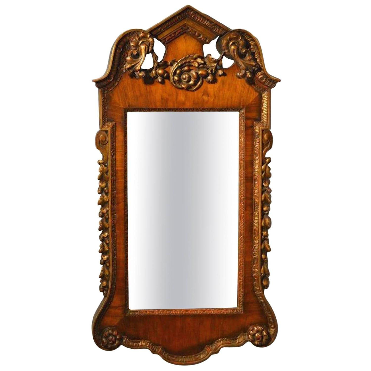 Walnut and parcel gilt george i style antique wall mirror for Antique style wall mirror