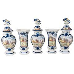 Antique Delft Five Vase Mantle Garniture