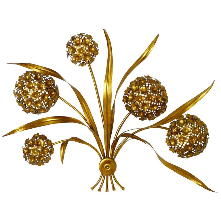 Large Gold-Plated Bouquet of Flowers Wall Sconce, Hollywood Regency Style, 1970s