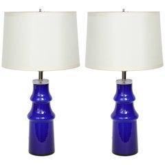 Pair of Swedish Modern Blue Art Glass Lamps by Johansfors