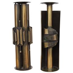 Pair of Huge Brutalist Candle Holders in Brass