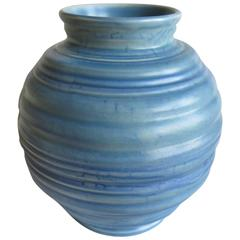 Art Deco, Carlton Ware, Coiled Spherical Vase, blue Earthenware , circa 1930