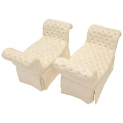 Pair of Cream-Colored Silk Button-Tufted Rolled Arm Benches with Ample Skirt
