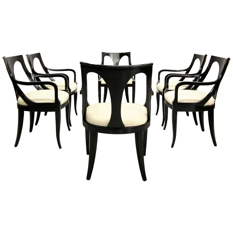 Set Of Six Black Mid Century Modern Dining Chairs By Kindel Furniture 1